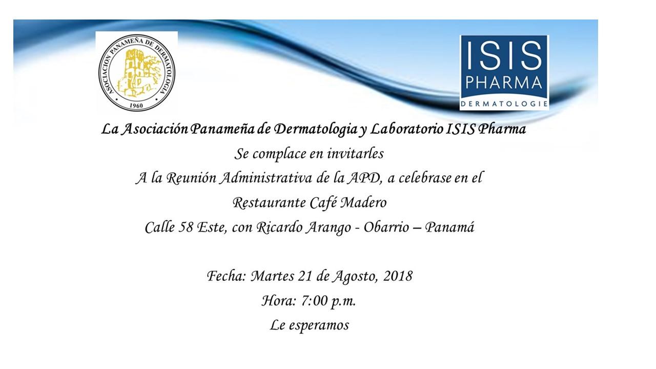 ISIS PHARMA - Patrocinador de Reunión de la Asociación Panameña de Darmatología 2018